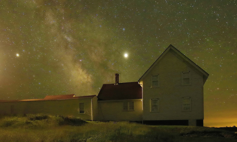 """Milky Way Over the Lighthouse Keeper's House,"" a photograph by the late Steven R. Dunn. (Image courtesy Will Kefauver)"