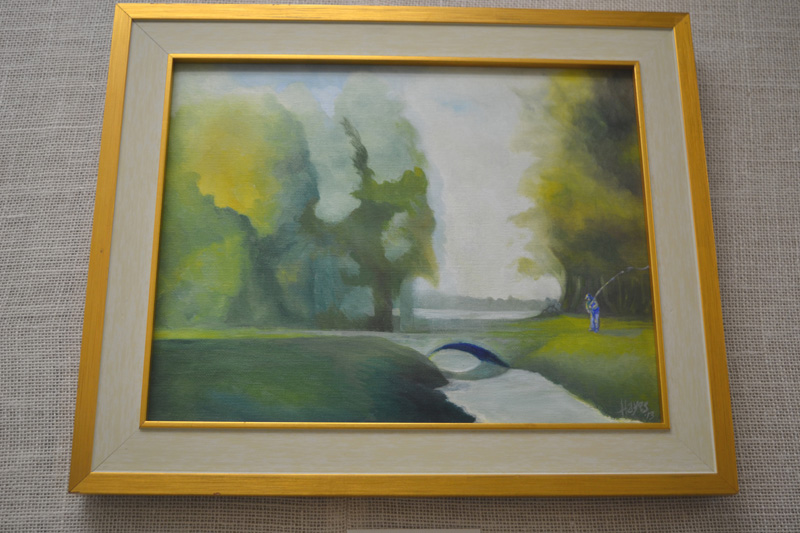 """Trout Stream,"" one of the paintings in the current George Hayes exhibit at the Waldoboro Public Library. (Christine LaPado-Breglia photo)"