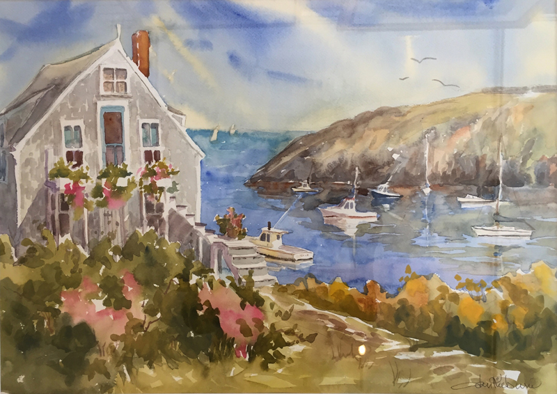 "Jan Kilburn's watercolor painting ""Monhegan Harbor."" (Image courtesy Will Kefauver)"