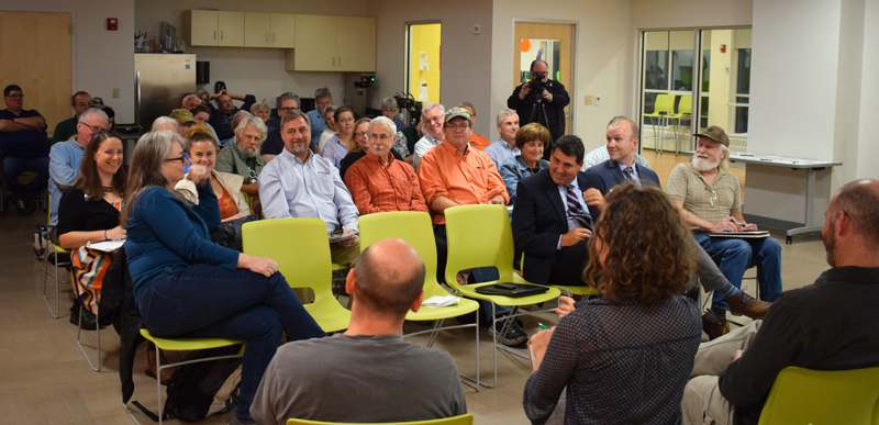 About 35 people attend a lively conversation about the future of high-speed internet access at the Central Lincoln County YMCA in Damariscotta on Tuesday, Sept. 24. (Evan Houk photo)