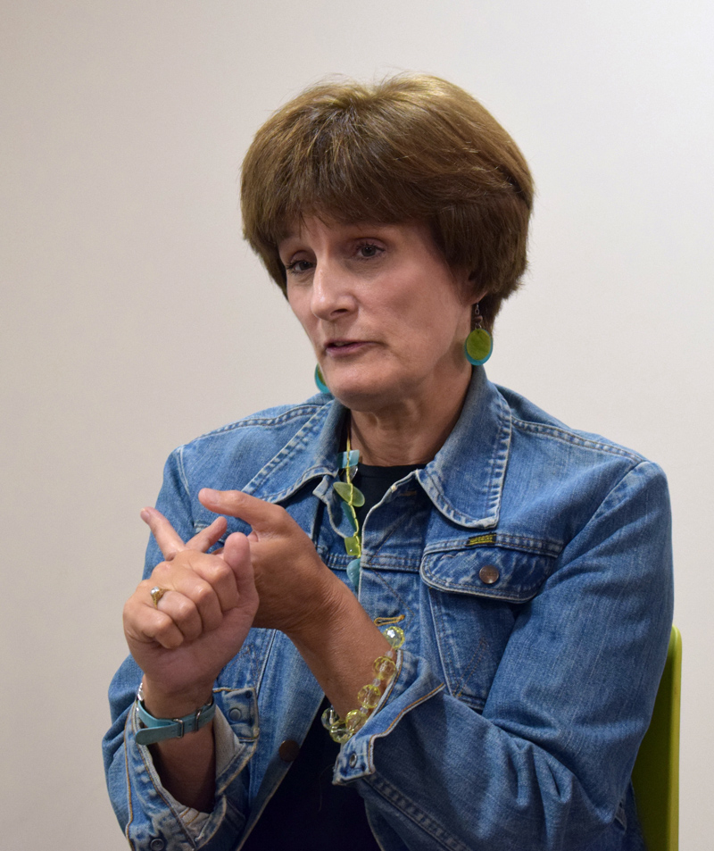 Peggy Schaffer, executive director of the ConnectME Authority, talks about how to fund expansion of high-speed internet access during a forum at the Central Lincoln County YMCA in Damariscotta on Tuesday, Sept. 24. (Evan Houk photo)