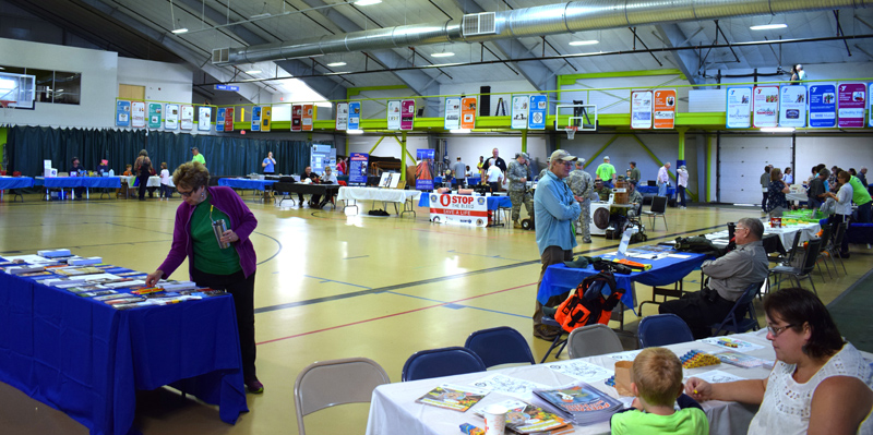 Residents explore the tables set up at the inaugural Lincoln County Emergency Preparedness Fair at the Central Lincoln County YMCA in Damariscotta on Saturday, Sept. 21. (Evan Houk photo)