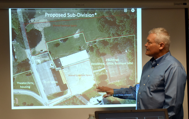Portland developer Tim Wells shows a diagram of his plans for the A.D. Gray property. The diagram includes 21-27 housing units in the former middle school. (Alexander Violo photo)