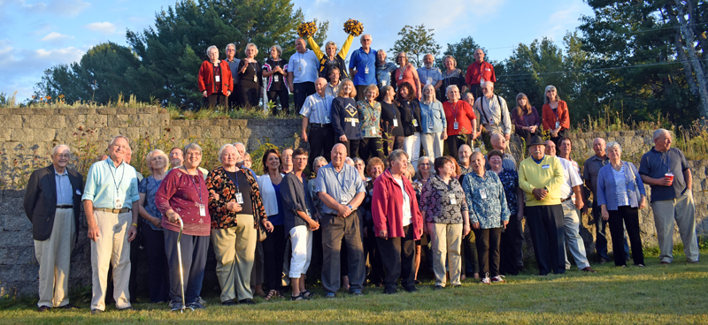 The first class to graduate from Medomak Valley High School in Waldoboro celebrates its 50th reunion, with a couple of its teachers, at the Union Masonic Lodge on Saturday, Sept. 21. (Alexander Violo photo)