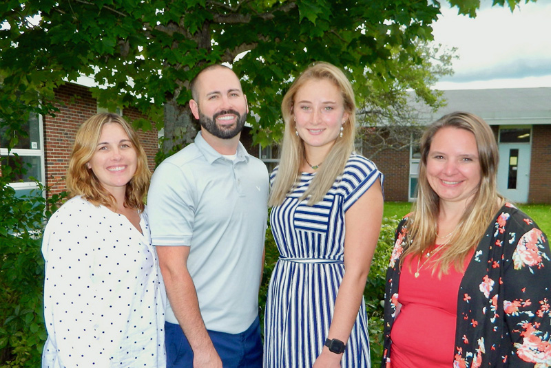 Medomak Valley High School has four new teachers this year, from left: Nora Wilson, Midcoast School of Technology school-to-career coordinator; Ryan DiPompo, physical education; Sophie Cohen, social studies; and Staci Bowman, resource room. (Photo courtesy Lisa Genthner Gunn)