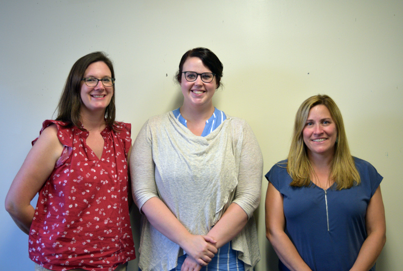 From left: Kelley Capen, Molly Brewer, and Crystal Crowell are the newest teachers at Whitefield Elementary School. (Jessica Clifford photo)