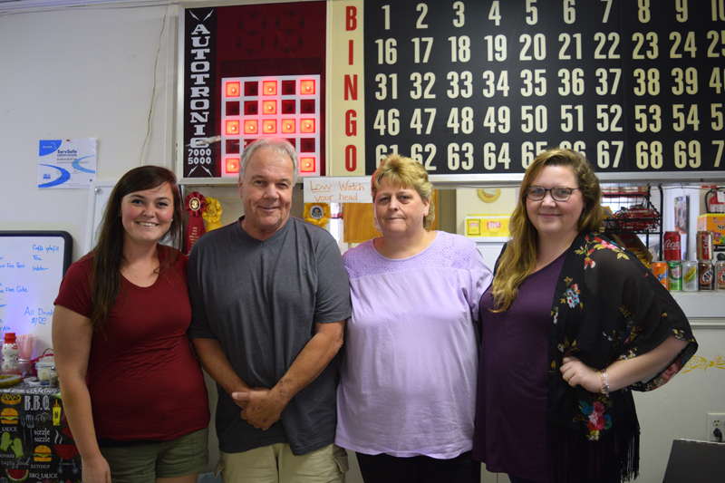 The Smerdon family attends a bingo benefit at the Huntoon Hill Grange in Wiscasset on Sunday, Sept. 22. From left: Cassandra, Michael, Susan, and Lindsay Smerdon. Missing from the photo is Jordan Smerdon. (Jessica Clifford photo)