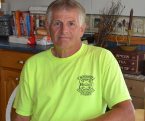 Wiscasset Fire Department Safety Officer Tim Merry says the department's membership opposes the removal of Fire Chief T.J. Merry. Tim Merry was chief for 20 years and is the father of T.J. Merry. (Charlotte Boynton photo)