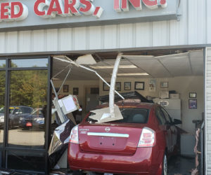 A 2010 Nissan Sentra awaits removal from the front office of Norm's Used Cars in Wiscasset on Tuesday, Sept. 24. (Photo courtesy Norm's Used Cars)