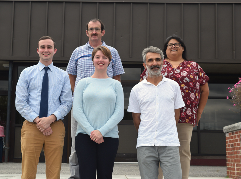 New educators at Wiscasset Middle High School. Front from left: Wyatt Ray, Maggie Burris, and Alain Ollier. Back: Gordon Clark and Adrienne Fraire. (Jessica Clifford photo)