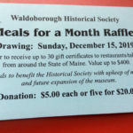 Waldoborough Historical Society 'Meals for a Month' Raffle