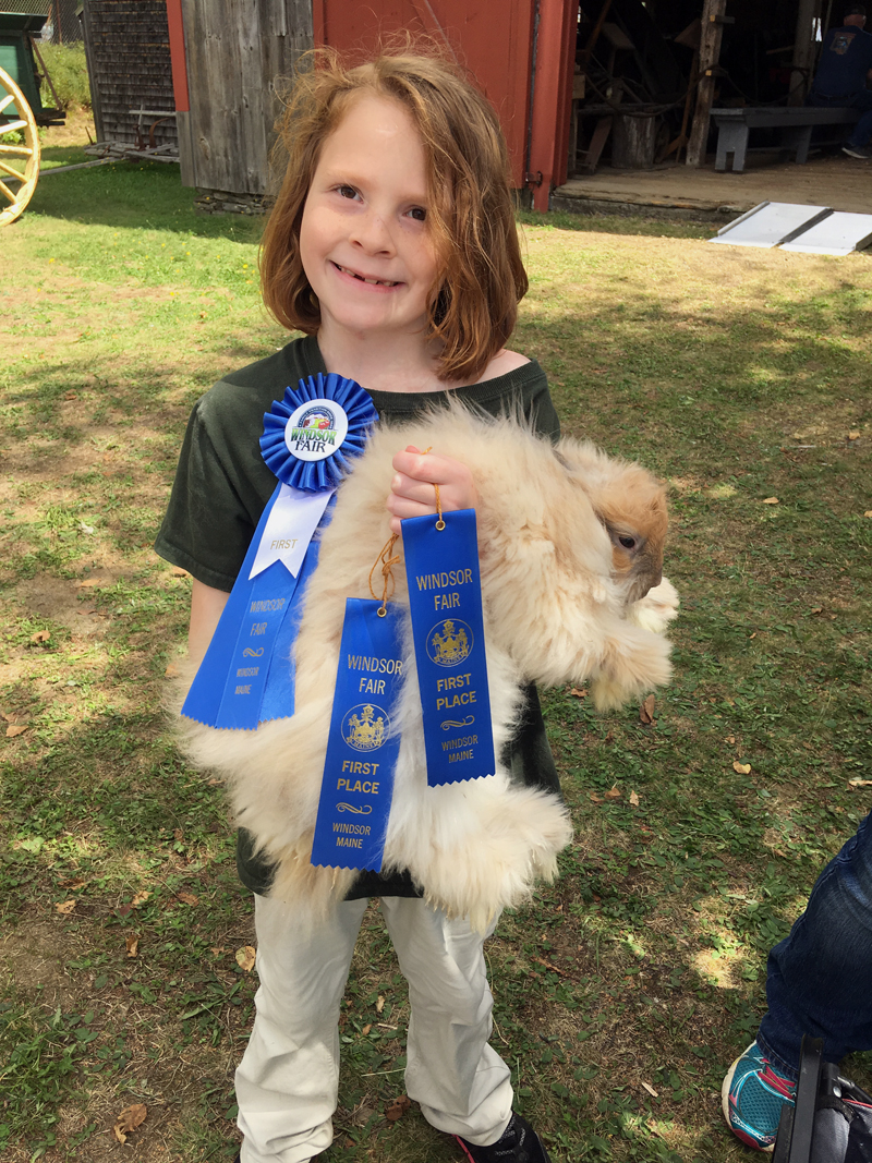 Charlotte Ramsdell and her prize-winning rabbit.