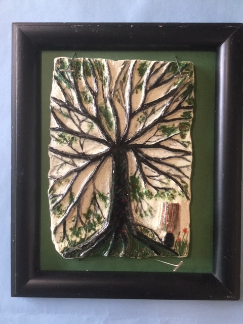 This glazed ceramic wall hanging, by 11th-grade art student Enya Waterbury, is one of a collection of pieces by Wiscasset Middle High School students on exhibit during Wiscasset Art Walk on Saturday, Sept. 28.