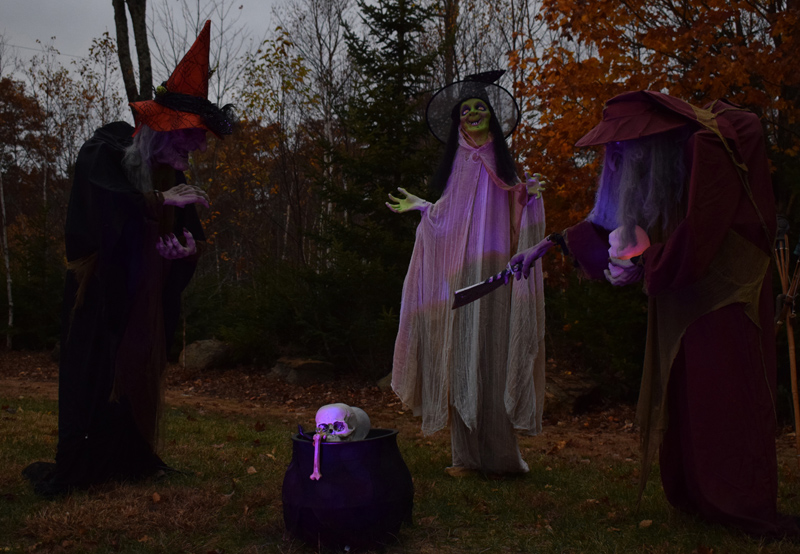 A trio of witches surrounds a kettle at 58 Cushing Farm Road in New Harbor. The property is home to Terri and Steven Sylvester, who are opening their display to the community for their first Halloween in the area. (Evan Houk photo)