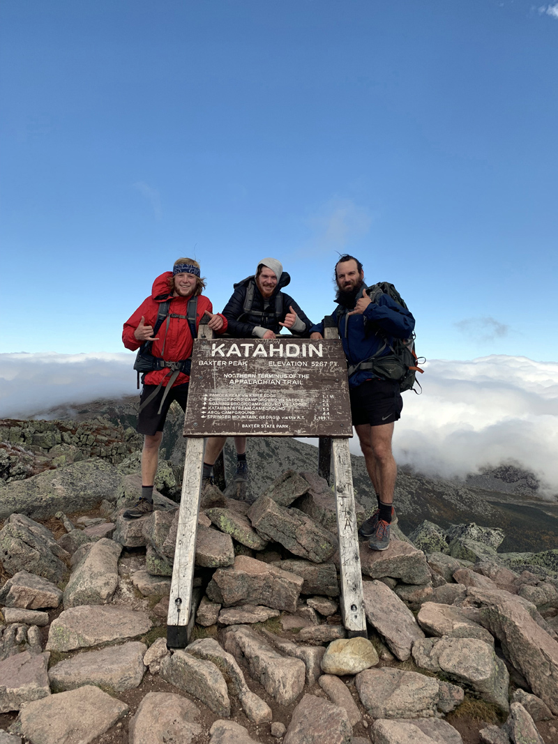 From left: Dalton Leeman and Bo McLain, of Bristol, and fellow hiker Tim Lawrence, of New Jersey, pose for a photo at the peak of Mount Katahdin upon completing their 2,200-mile hike of the Appalachian Trail. (Photo courtesy Bo McLain)