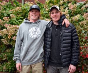 Dalton Leeman (left) and Bo McLain, of Bristol, hiked the entire Appalachian Trail from April to October of this year. (Jessica Clifford photo)