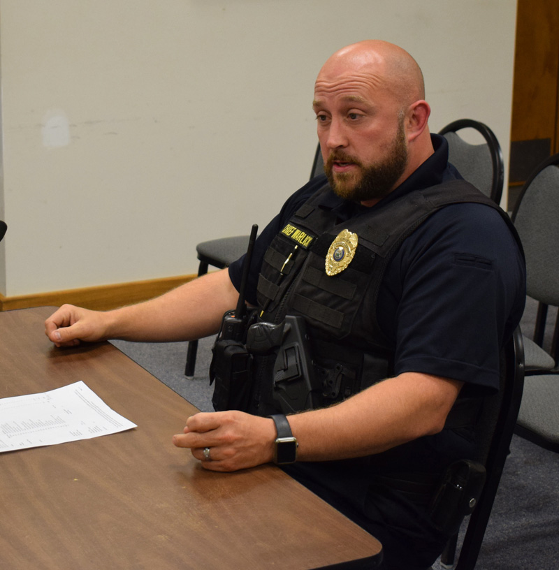 Damariscotta Police Chief Jason Warlick addresses the selectmen about the need for a new police cruiser Wednesday, Oct. 2. (Evan Houk photo)