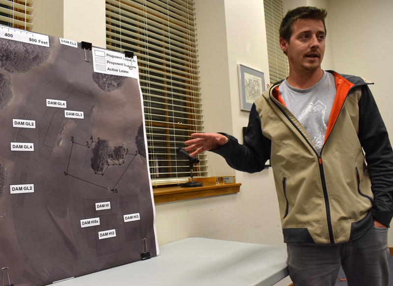 Brendan Parsons, owner of Black Stone Point Oysters LLC, explains his application for a new 12.98-acre aquaculture lease on the Damariscotta River during a public hearing at the Damariscotta town office Wednesday, Oct. 23. (Evan Houk photo)