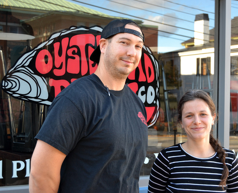 Nick Krunkkala is the head chef and Caroline Zeller the baker at the new Oysterhead Pizza Co. in downtown Damariscotta. (Maia Zewert photo)