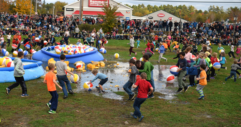 Kids rush in to play with beach balls and pumpkin debris after the giant pumpkin drop at Round Top Farm on Sunday, Oct. 13. (Evan Houk photo)