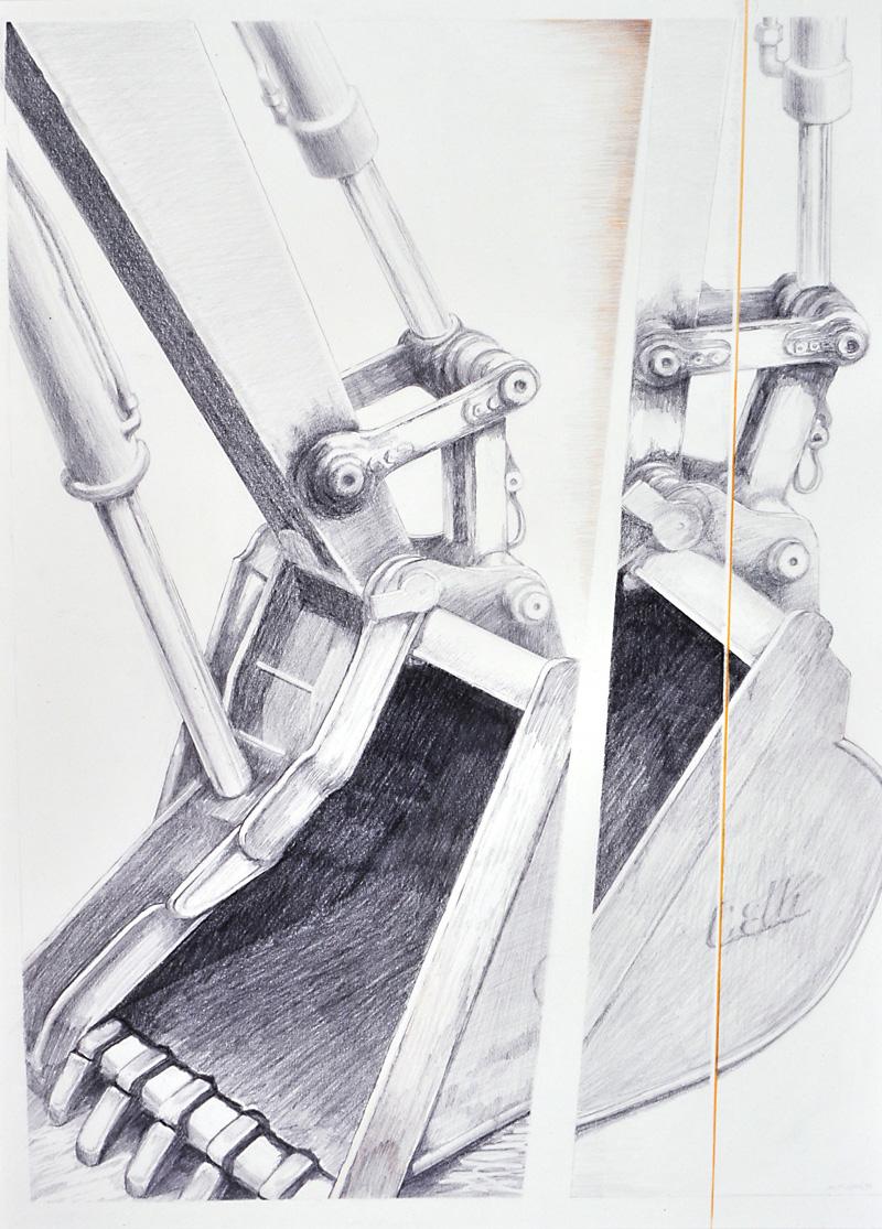 "Brenda Bettinson's drawing ""Backhoe Bucket,"" part of the current Bettinson exhibit titled ""Subtle,"" at Mathias Fine Art in Trevett. (Image courtesy Cordula Mathias)"