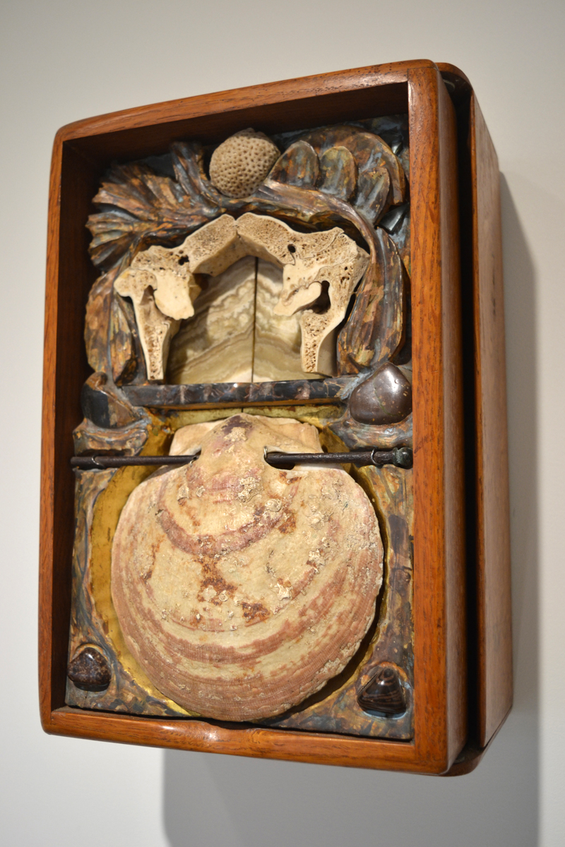 """""""Echo,"""" a carved, gessoed, and polychromed box sculpture made of linden wood and inlaid with fossil, bone, shell, and stone by Joseph Ascrizzi, of Freedom, is part of the current """"Masters & Apprentices"""" exhibit at the Watershed Center for the Ceramic Arts gallery in Edgecomb. (Christine LaPado-Breglia photo)"""