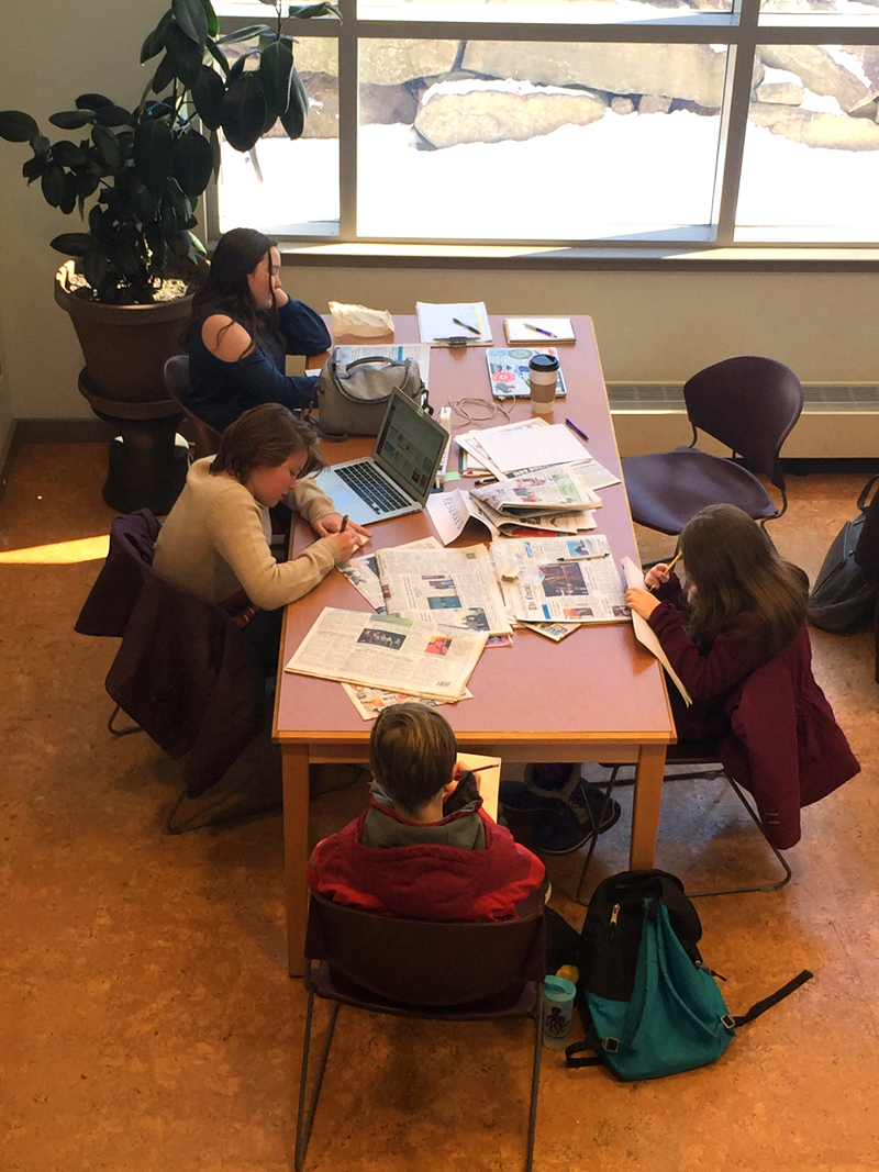 Students in the Junior Journalists program brainstorm article ideas at Skidompha Library in Damariscotta on Feb. 19. The program received first place fpr Best Young Reader Engagement Idea in the 2018-2019 Maine Press Association Better Newspaper Contest.