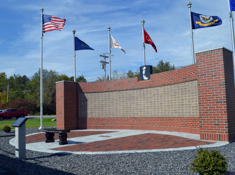 The new POW/MIA memorial at American Legion state headquarters in Winslow bears the names of Maine service members who are prisoners of war or missing in action, including six from Lincoln County. (Charlotte Boynton photo)