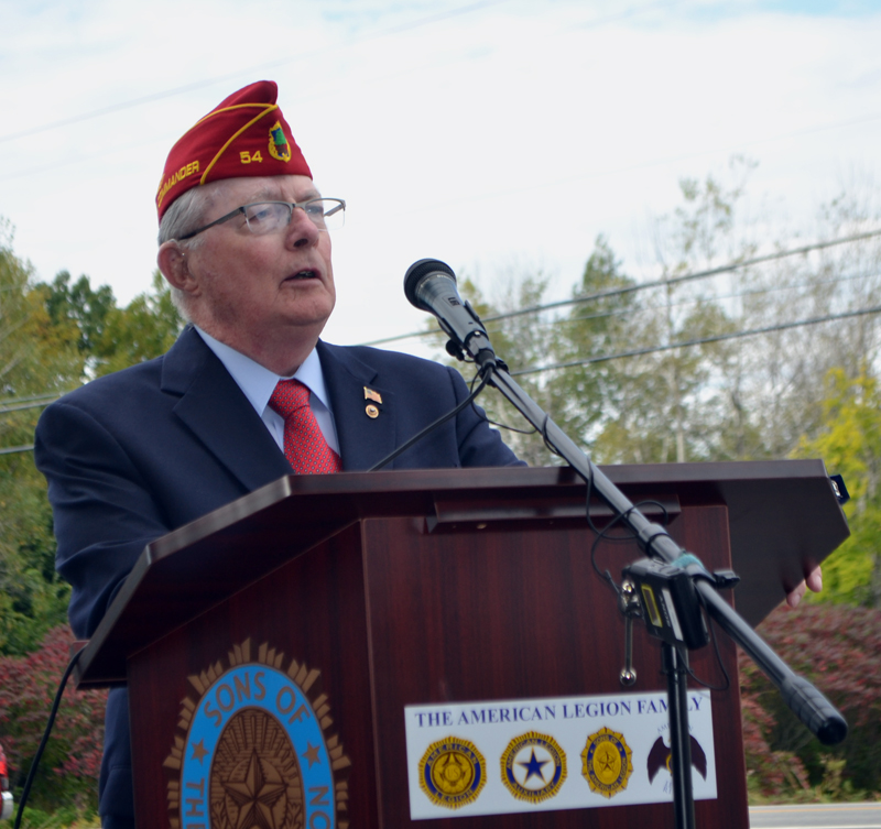 "Past American Legion National Cmdr. Anthony ""Tony"" Jordan delivers a welcome during the dedication of the new POW/MIA memorial at Legion state headquarters in Winslow on Saturday. Sept. 28. Jordan is a member of Bradford-Sortwell-Wright Post No. 54 in Wiscasset. (Charlotte Boynton photo)"