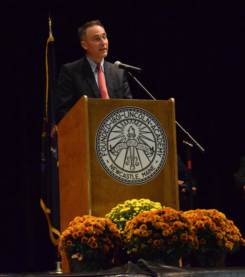 Lincoln Academy Head of School Jeffrey S. Burroughs speaks during his installation ceremony in the Nelson Bailey Gymnasium on Saturday, Oct. 5. (Evan Houk photo)