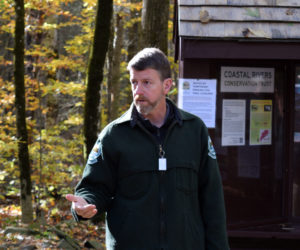 Stephen Richardson, senior forest engineer with the Maine Bureau of Parks and Lands, speaks about an upcoming timber harvest at Dodge Point in Newcastle during a meeting at the property Friday, Oct. 18. (Jessica Clifford photo)