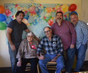 Marion Griffin celebrates her 100th birthday with family at Waldoboro Green on Tuesday, Oct. 15. From left, Michael Blake, Griffin, Jim Blake, Scott Blake, and Wayne Sprague. (Alexander Violo photo)