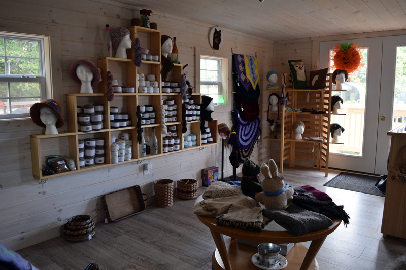 The new Maine Alpaca Barn Gift Shop at 332 Townhouse Road in Whitefield offers alpaca products, such as hats, scarves, pillows, purses, stuffed animals, and various colors of yarn. (Jessica Clifford photo)