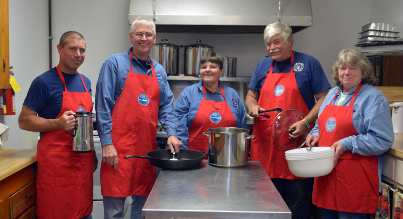 Bremen Fire and Rescue is gearing up for its lasagna supper Saturday, Nov. 2. Pictured are Brian Collamore, Dave Adkins, Ruth Poland, Jack Boak, and Kathy Teele. (Paula Roberts photo)