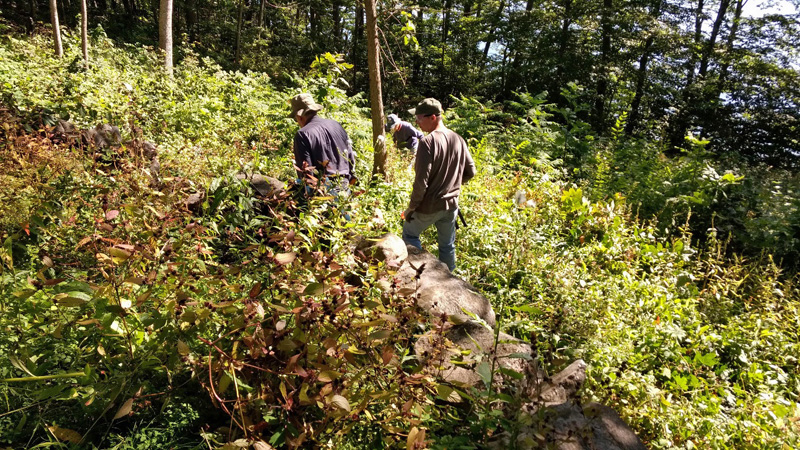 Several Newcastle Historical Society members as well local residents work on cemetery restoration at a historic burying ground on River Road.