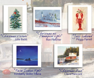 Miles Memorial Hospital League holiday cards, featuring the artwork of five Midcoast artists, are now available for sale at $8 per package plus tax. (Image courtesy Donna Flynn)