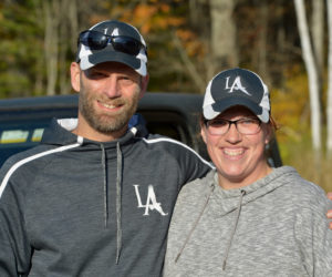 Lincoln Academy coach Garrett Martin, with his assistant coach Amy (Brooks) Burgess, was KVAC Class B boys cross coutry Coach of the Year for the fourth straight year. (Paula Roberts photo)
