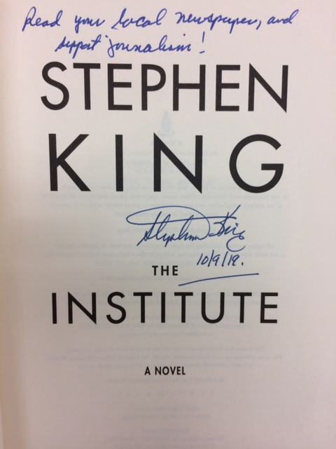 """An eBay auction of a copy of Stephen King's """"The Institute"""" with a unique inscription from the author will benefit scholarships for journalism students in Maine."""