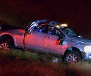 A 2012 Dodge Ram in a field near High Hopes Farm in Bristol early Tuesday, Oct. 8. Thomas P. Montuori, 39, of Bristol, was driving south when he lost control of the pickup, which flipped over twice before coming to rest, according to police. (Evan Houk photo)