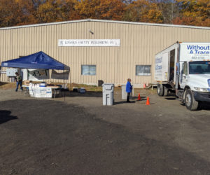The Damariscotta Region Chamber of Commerce hosted a shred event and food drive at Lincoln County Publishing Co. in Newcastle the morning of Saturday, Oct. 26.