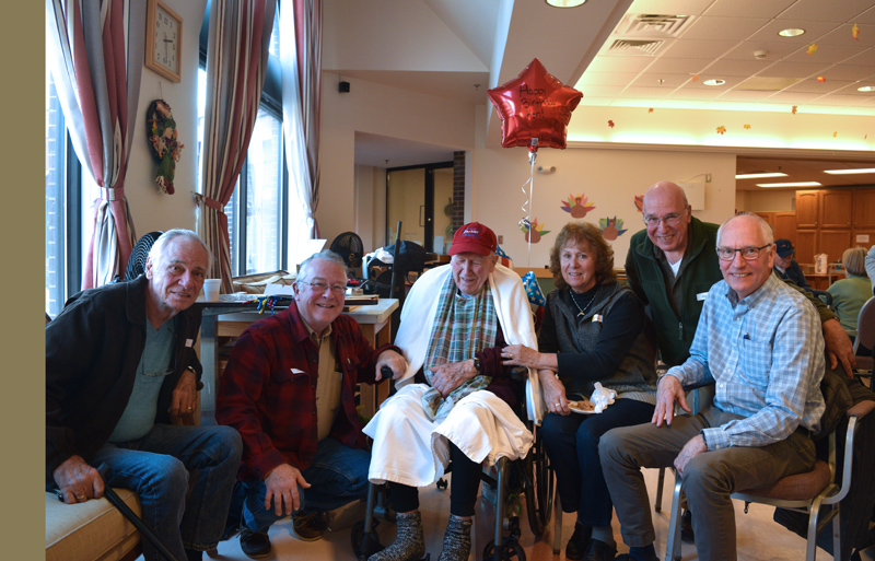 Kenneth Chaney celebrates his birthday with his children at the Maine Veterans' Home in Augusta on Friday, Nov. 15. From left: Dennis, Michael, and Kenneth Chaney; Nancy Hanna; and Steve and Larry Chaney. (Jessica Clifford photo)