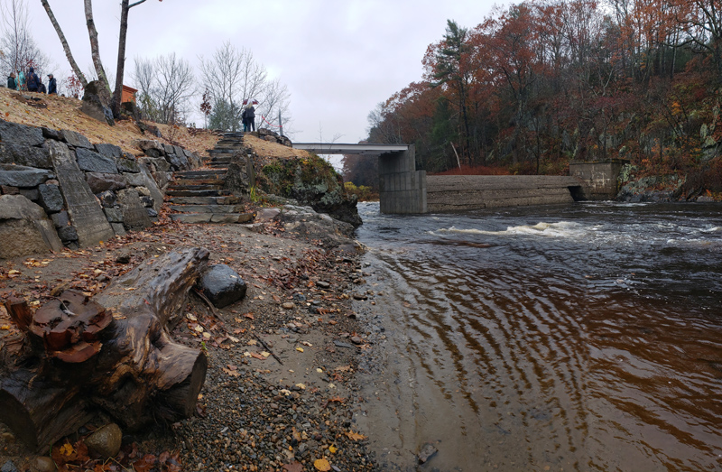 A panoramic view of the Head Tide Dam modification project after the dedication ceremony Thursday, Oct. 31, featuring the new overlook, step pathway, and retaining wall. (Jessica Clifford photo)