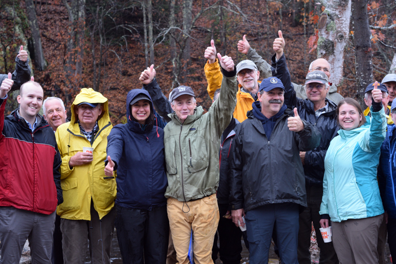 Some of the crowd at the Head Tide Dam dedication gives a thumbs up to the nearly complete project. (Jessica Clifford photo)