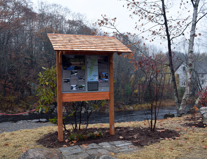 A new informational kiosk at the Head Tide Dam gives historical information about the site, the modification project, and the Sheepscot River. (Jessica Clifford photo)