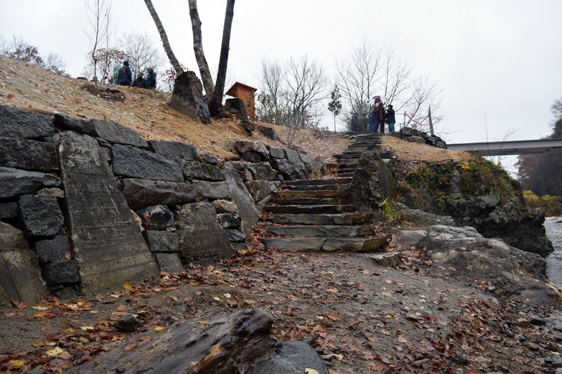 The new retaining wall and stone steps to the river at the Head Tide Dam site. (Jessica Clifford photo)