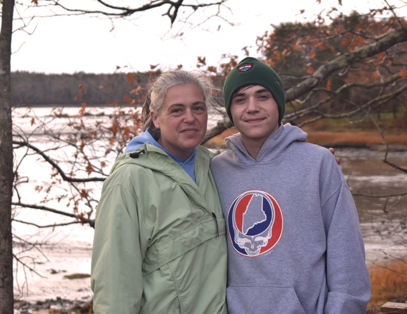 Maryanne and son Nickolas Griffin, of Bremen, were among the group on hand to help the Downeast Institute with field work for a clam study in Broad Cove the morning of Friday, Nov. 1. (Alexander Violo photo)