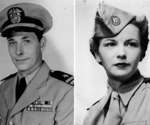 U.S. Navy Lt. William Connell during the Korean War and Civil Air Patrol pilot Lyn Connell during World War II.