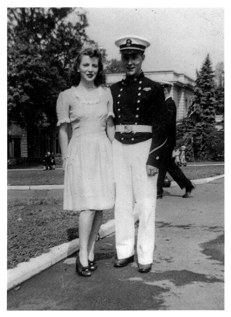 Lyn and Bill Connell at the U.S. Merchant Marine Academy in 1944, shortly after they met. They married in 1945.
