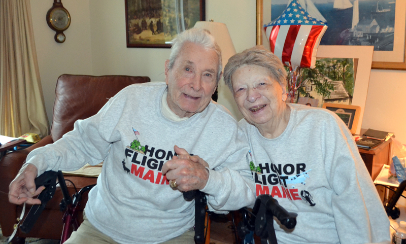 Bill and Lyn Connell relax at home in Damariscotta. The couple returned from an Honor Flight Maine trip to Washington, D.C. on their 74th anniversary, Oct. 27. (Charlotte Boynton photo)