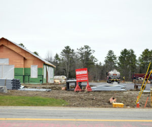 Construction continues at the future home of Camden National Bank, 435 Main St., Damariscotta, Monday, Nov. 11. Damariscotta plans to create a tax increment financing district encompassing the development. (Evan Houk photo)